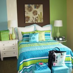 Turquoise Feature Wall Design Ideas, Pictures, Remodel, and Decor - page 4
