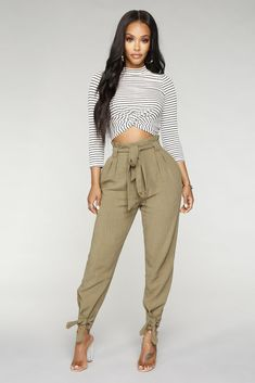 Available In White And OliveHigh RiseLinen FabricNo StretchTappered LegJogger BodyTie WaistFront Rayon, LinenImported Khakis Outfit, Cargo Pants Outfit, Celebrity Outfits, Sexy Outfits, Fashion Outfits, Colored Pants Outfits, Olive Pants, Fall Winter Outfits, I Love Fashion