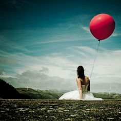 This rock the frock image was taken in NZ with a large read Helium filled balloon