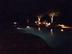 A beautiful reflective pool at night. Pool At Night, Natural Swimming Pools, Ponds, Patio, Nature, Outdoor, Beautiful, Natural Pools, Outdoors