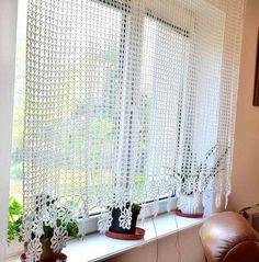 Curtain Crocheted by Katescrochetwork Crochet Curtain Pattern, Crochet Curtains, Curtain Patterns, Lace Curtains, Curtain Designs, Crochet Doilies, Valance, Filet Crochet, Crochet Stitches