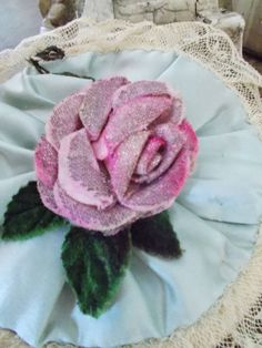 French Long Handle Blue Silk Lace Powder Puff 1900's Pink Metalwork Ribbon ROSE