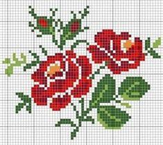 Cross Stitch Rose, Cross Stitch Borders, Modern Cross Stitch Patterns, Cross Stitch Flowers, Cross Stitching, Cross Stitch Embroidery, Hand Embroidery, Pixel Pattern, Crochet