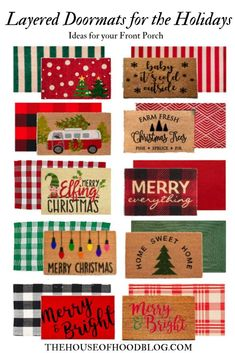 it's time to share our favorite layered doormats for the Holidays! This is a trend we've loved for a long time, and loved pulling together these looks! Christmas Post, Winter Christmas, All Things Christmas, Merry Christmas, Christmas Front Doors, Christmas Doormat, Decoration Entree, Holiday Fun, Holiday Decor