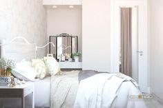 """Дизайн интерьера спальни в двухкомнатной квартире в современном стиле и экостиле. Цвета: натуральные, белый, бежевый, жёлтый. Студия дизайна """"Печёный""""."""