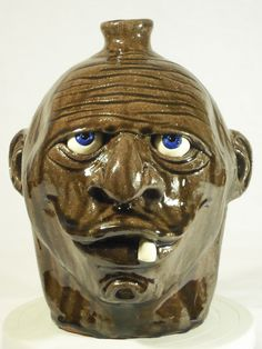 Tobacco spit face jug - Melvin Crocker - North Ga Folk Pottery | eBay