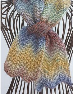 Knitting Pattern for Chevron Keyhole Scarf - The chevron stitch looks great in a self striping yarn.