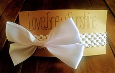 Ribbon bows, White crocheted Bow headband. A personal favorite from my Etsy shop https://www.etsy.com/listing/568560469/big-white-bow-headband-crocheted-white