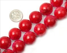 18mm round #gemstone red coral beads strand 15″