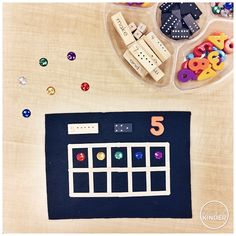 A Pinch of Kinder: Number Sense Loose Parts Tray for Kindergarten (Jenga Block with Numbers and Math Words, Dominos, Magnetic Letters, Rhinestones, Ten Frames)