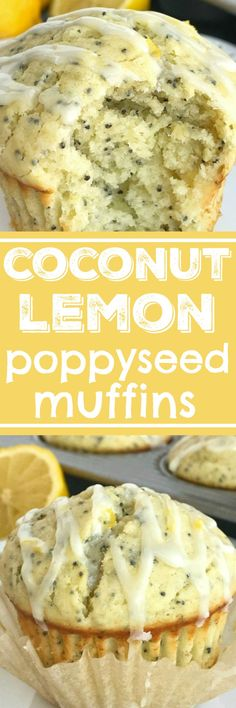Coconut Lemon Poppyseed muffins with a lemon glaze. These muffins are filled with coconut oil, coconut extract, fresh lemon zest & fresh lemon juice! Muffin Recipes, Brunch Recipes, Baking Recipes, Breakfast Recipes, Dessert Recipes, Baby Recipes, Brunch Ideas, Bread Recipes, Lemon Poppyseed Muffins