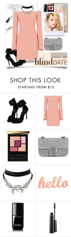 """date outfit"" by katyst ❤ liked on Polyvore featuring Cinq à Sept, Yves Saint Laurent, Silvana, Alexander McQueen, WithChic, Chanel, MAC Cosmetics, DateNight, chic and dress"
