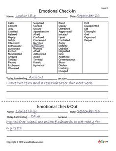 emotional check-in/check-out sheets. Great for check-ins or quick morning meetings. Counseling Worksheets, Therapy Worksheets, Counseling Activities, Therapy Activities, School Counseling, Coping Skills Activities, Anger Management Activities, Cbt Worksheets, Social Emotional Learning