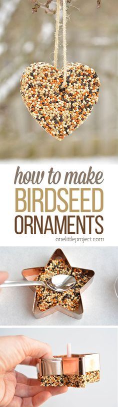 These birdseed ornaments are SO EASY and they look gorgeous on the trees outside! They hold their shape perfectly and only need 4 ingredients! So pretty! diy and crafts ideas Summer Crafts, Holiday Crafts, Christmas Crafts, Christmas Ornaments, Christmas Decorations, Yard Decorations, Christmas Tree, Homemade Gifts, Diy Gifts