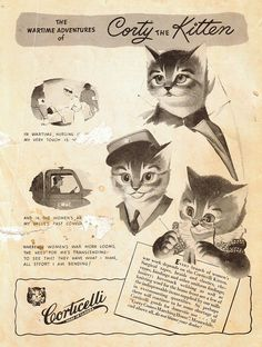 """""""The Wartime Adventures of Corty the Kitten"""" The Corticelli Hand-Knit Fashions - (1942). Made in Canada. Booklet No. KP 42. Price: 25 cents.""""  More of the booklet available at link."""