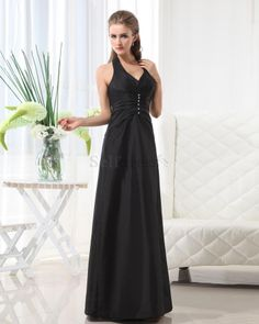 Rectangle Pear Apple Thin Black V-Neck Inverted Triangle Zipper Up Pleated A-Line Bridesmaid Dress