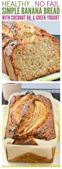 Simple healthy banana bread recipe with Greek Yogurt, coconut oil and whole wheat flour. A delicious moist banana bread sweetened with honey