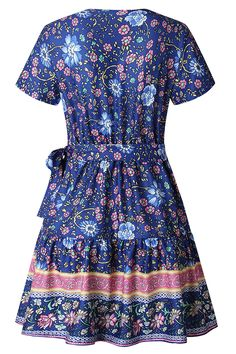 Bohemian Style V Neck Ruffle Floral Mini Dress Blue Blue Dresses, Summer Dresses, Surplice Dress, Bridesmaid Jewelry Sets, Blue V, Bohemian Style, Dresses Online, Floral Prints, Short Sleeve Dresses