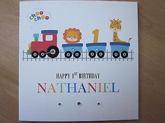 Personalised handmade boys #train 1st first birthday card - son #grandson #nephew, View more on the LINK: http://www.zeppy.io/product/gb/2/251426160730/