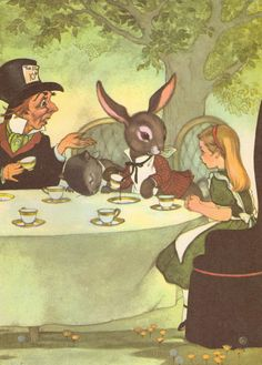 Alice at the Mad Hatter Tea Party Vintage Alice by gracearchives