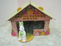 Vintage Easter Bunnie's House..chalk ware bunny.