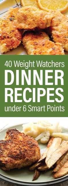40 Weight Watchers Dinner Recipes Under 6 SmartPoints including Lemon and Herb Shrimp, Baked Shrimp, Egg Drop Soup, Cheese Souffle, Pork Chops, Pork Tenderloin, Chili, Chicken Fried Rice, Mexican Chicken Breasts, Eggplant Casserole, Salmon, Turkey Meatballs, Fried Fish, and more!