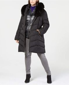 c89c1963311 Calvin Klein Plus Size Faux-Fur-Trim Hooded Puffer Coat Women - Coats -  Macy s