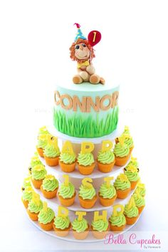 Tiered Cupcake Towered Topped with Fondant Lion