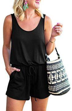 MIROL Womens Summer Sleeveless V Neck Ruffle Shorts Elastic Waist Jumpsuit Rompers with Pockets