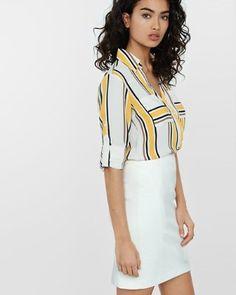 f2cda51815432c slim fit yellow stripe portofino shirt from EXPRESS Portofino Shirt