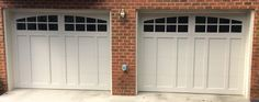 Two 9x7 Model 5632A Almond garage doors with Arched Stockton glass installed by the Richmond store.
