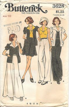 1970's Butterick 3628 Wide Leg Pants, Jacket, Skirt and Halter Top Sewing Pattern, offered on Etsy by GrandmaMadeWithLove