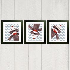 Nursery Art Print Set Sock Monkey 8x10 by DeliveredByDanielle. $32.00 USD, via Etsy.