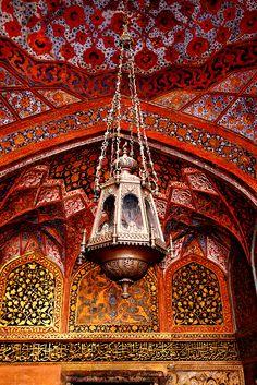 Emperor Akbar's Mausoleum Agra, India. The Mughal Era - Design and Architecture. Islamic Architecture, Art And Architecture, Beautiful Architecture, Moroccan Decor, Persian Decor, Moroccan Lighting, Moroccan Bedroom, Moroccan Design, Moroccan Tiles