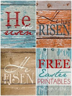 He Has Risen Rustic Free Printables.  the36thavenue.com  #easter #printables