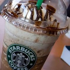 The Bucks hack - Starbucks Ferrero Rocher Frappuccino -  	Double Chocolate Chip Frappuccino / 2-3 Pumps Mocha Syrup / 1-2 Pumps Hazelnut Syrup / Topped with Hazelnut Drizzle