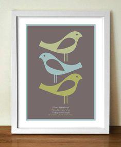 Quote poster, Retro poster, BOB MARLEY Three Birds lyrics poster, A3  giclée print on Etsy, $24.99