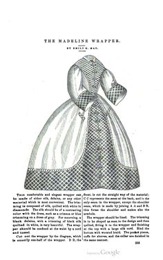 Madeline Wrapper, Peterson's Magazine- March, 1862 cotton civil war era fashion (have a photo of an original much like this in my - Wrapper board) - Visit to grab an amazing super hero shirt now on sal Victorian Era, Victorian Fashion, Vintage Fashion, Civil War Fashion, Civil War Dress, Historical Clothing, Historical Costume, Fashion Plates, Fashion History