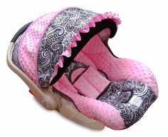 Baby Car Seat Covers | Boutique Graco Snugride Infant/Baby Car Seat Cover Paisley Light Pink ...