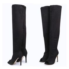 Suede Peep Toe Thigh High Boot Never worn. Lower through ️️ Shoes Over the Knee Boots