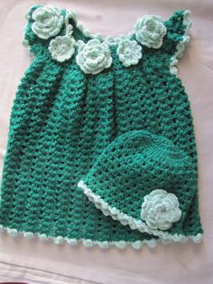 Green colored crochet frock