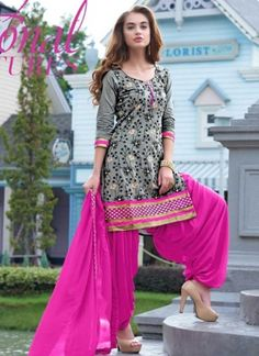 4da41b3ce Magenta And Grey Georgette Designer Patiala Salwar Kameez. Online Buy Panjabi  Dress At Fiji.