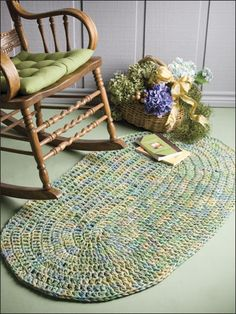 Variegated Rug 	  Technique - Crochet  Give any room in the house a fresh new look with a quick-to-stitch rug worked in the traditional oval pattern. Variegated yarn adds a lot of interest without a lot of effort! This e-pattern was originally published in Crochet Around the Home.