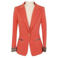 $13.07 Leopard Print Long Sleeves Modern Style Lapel Collar Polyester Blazer For Women