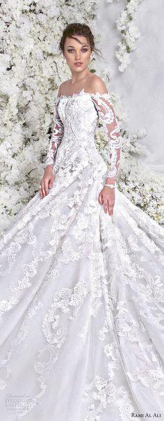 rami al ali 2018 bridal long sleeves off the shoulder straight across neckline full embellishment elegant princess a line wedding dress royal train (7) lv -- Rami Al Ali 2018 Wedding Dresses #wedding #weddings #bridal