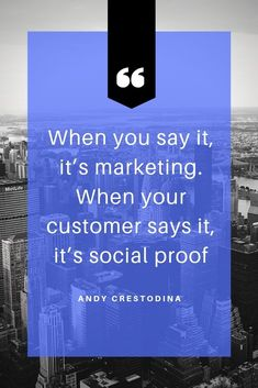 Blue Edge Business Marketing Quote - Social Proof - Ideas of Buying A Home Tips - When you say it its marketing. When your customer says it its social proof. Digital Marketing Strategy, Digital Marketing Quotes, Online Marketing Strategies, Marketing Goals, Business Marketing, Content Marketing, Marketing And Advertising, Social Media Marketing, Mobile Marketing