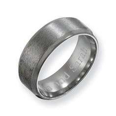 Men's 8.0mm Engraved Titanium Beveled Edge Wedding Band (27 Characters) - Zales