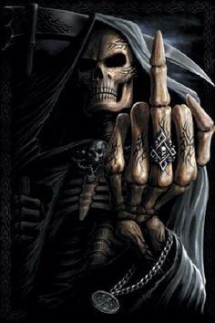 Second Life Marketplace - Grim Reaper - Finger up Poster Foto Fantasy, Dark Fantasy Art, Dark Art, Dark Gothic Art, Grim Reaper Art, Grim Reaper Tattoo, Ghost Rider Wallpaper, Skull Wallpaper, Skull Art