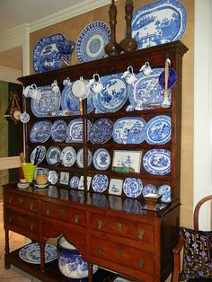 Flow Blue transferware in a Welsh cupboard Blue Willow China, Blue And White China, Blue China, China Pot, Blue Dishes, White Dishes, Blue Plates, White Plates, White Rooms