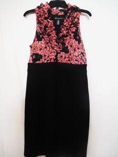 INC Size 8 black Pink Silk Blend Ruffle Floral Sleeveless Women Sundress Dress  #INCInternationalConcepts #Sundress #LittleBlackDress